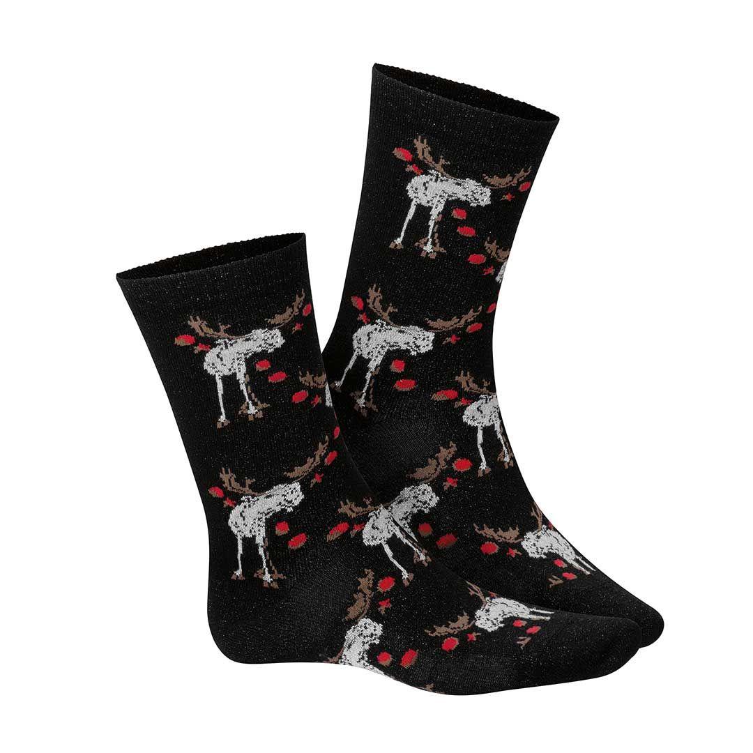 REINDEER Black (Schwarz) Socken mit Rentiermuster - HUDSON