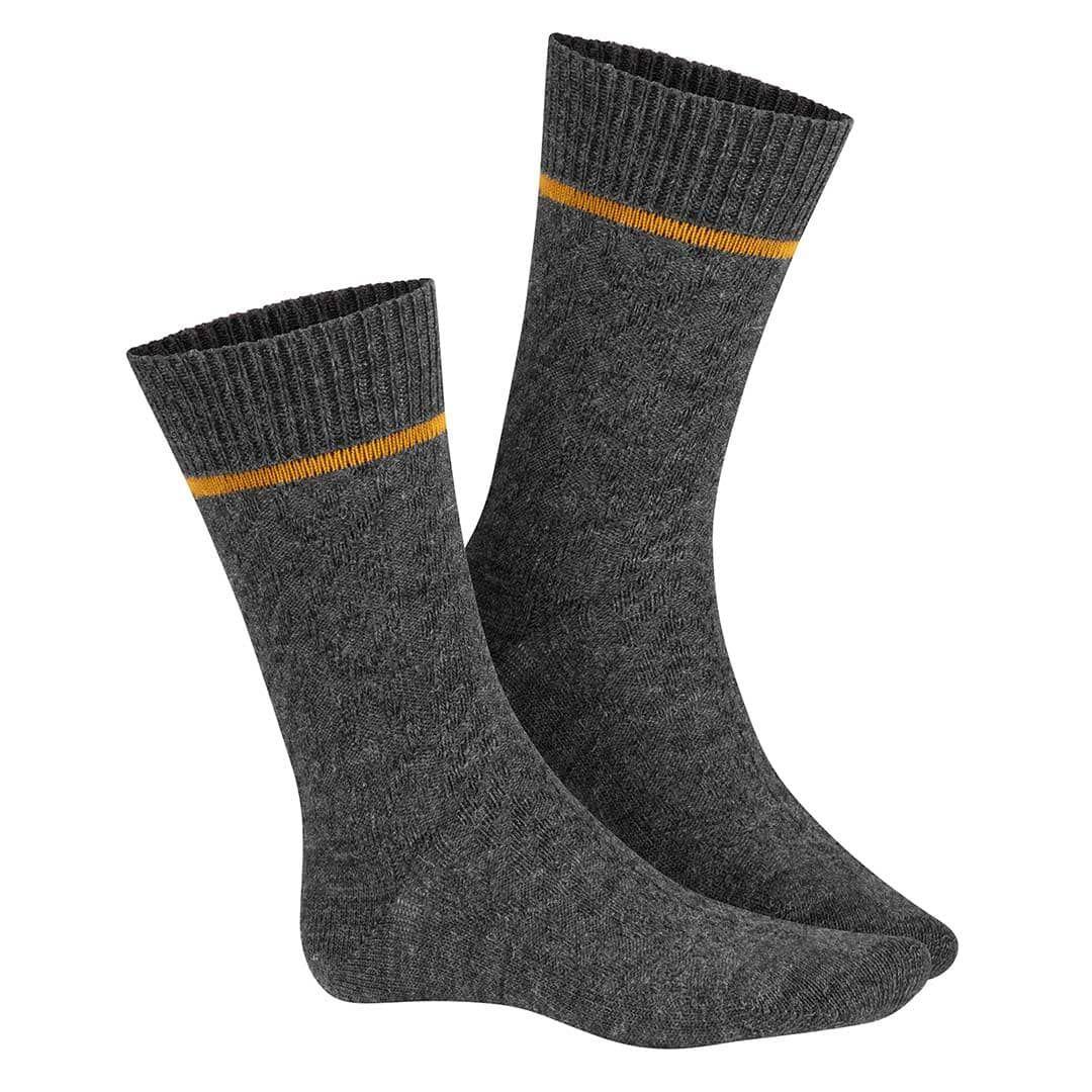 PLAINLY  Socken mit klassischem Zopfmuster und farblichem Akzent im Bund - HUDSON