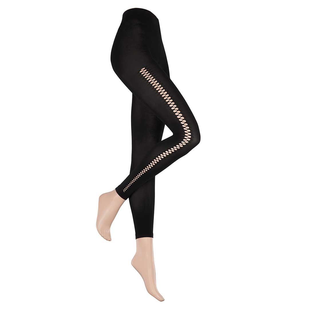 AGITATIVE CUT Black (Schwarz) Blickdichte Leggings in seitlicher Lasercut-Optik - HUDSON