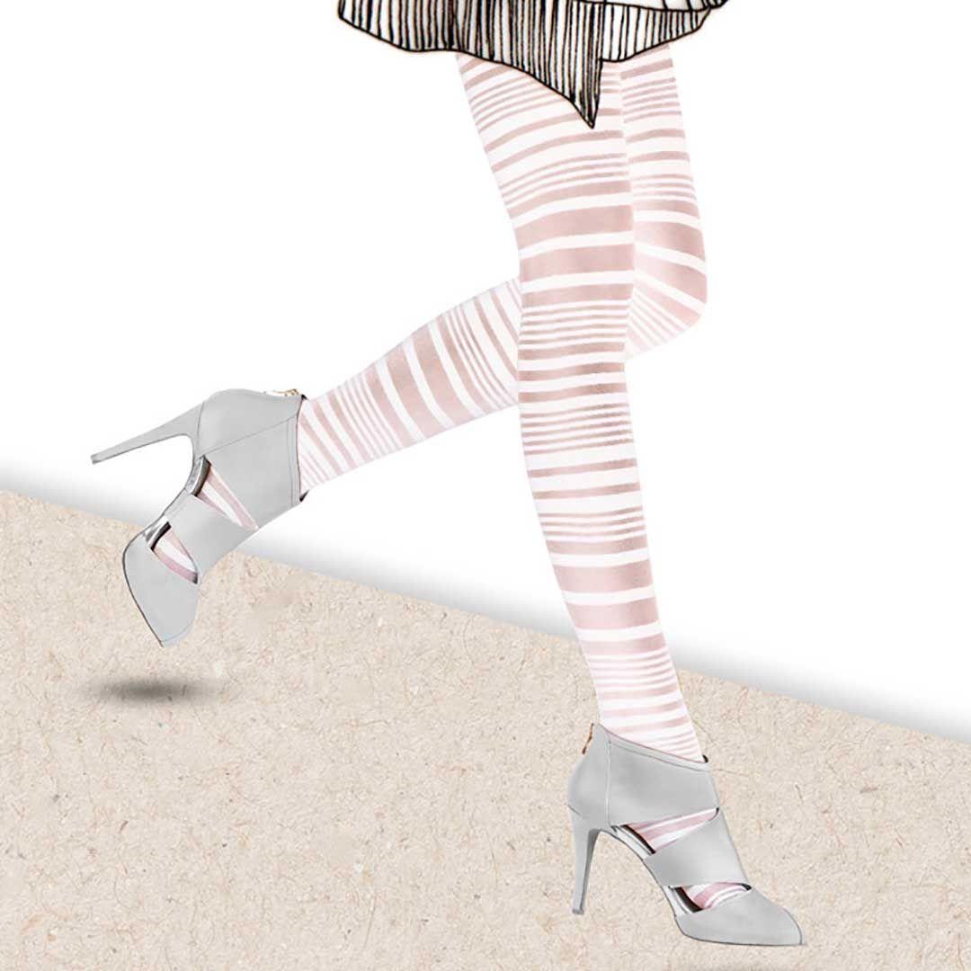 CHEECKY RINGLETS White (Weiß) Strumpfhose mit feinem Ringel-Design - HUDSON
