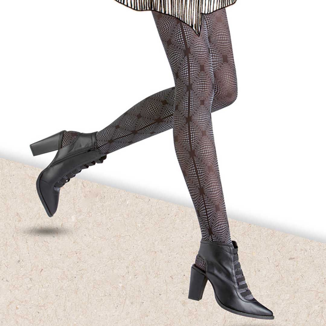 TRENDY ILLUSION Black (Schwarz) Strumpfhose mit Druck in psychodelischem Design - HUDSON